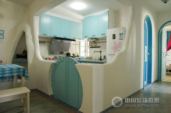 85平地中海温馨家设计图-厨房装修效果图-八六(中国)