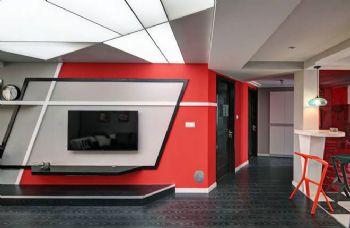 112平现代风打造红黑撞色案例现代过道装修图片