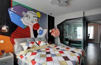 112平现代风打造红黑撞色案例现代卧室装修图片