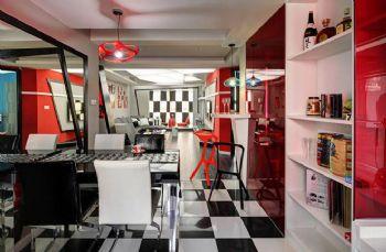 112平现代风打造红黑撞色案例现代厨房装修图片