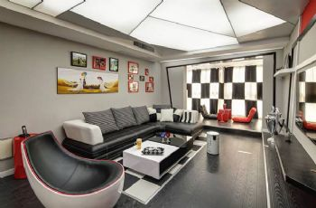 112平现代风打造红黑撞色案例现代客厅装修图片