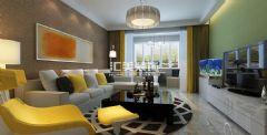 滨海名都现代风中户型装修效果图现代客厅装修图片