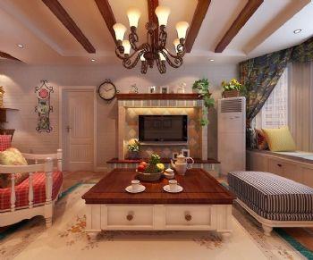 112平田园两居演绎迷人小碎花田园客厅装修图片