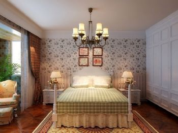 112平田园两居演绎迷人小碎花田园卧室装修图片