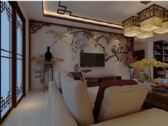 昆明呈贡新区滇池新城博湾140平方米中式风格中户型平层现代客厅装修图片