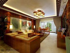 金科·天籁城中式风四居室装修案例中式客厅装修图片