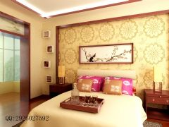 金科·天籁城中式风四居室装修案例中式卧室装修图片