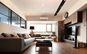 82平简约原木两居装修案例简约客厅装修图片