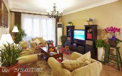 125平米美式大户型装修案例美式客厅装修图片