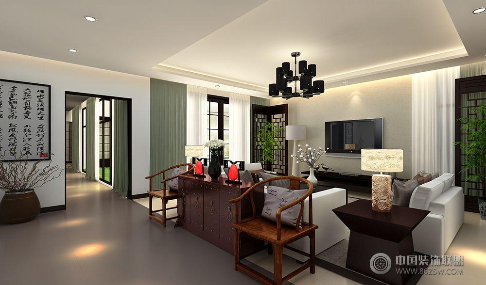 招商海德名门现代风白色别墅现代客厅装修图片