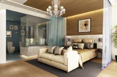 招商海德名门现代风白色别墅现代卧室装修图片