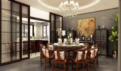 招商海德名门现代风白色别墅现代餐厅装修图片