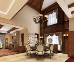 凯迪赫菲庄园别墅美式风格设计案美式餐厅装修图片