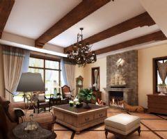 凯迪赫菲庄园别墅美式风格设计案美式客厅装修图片
