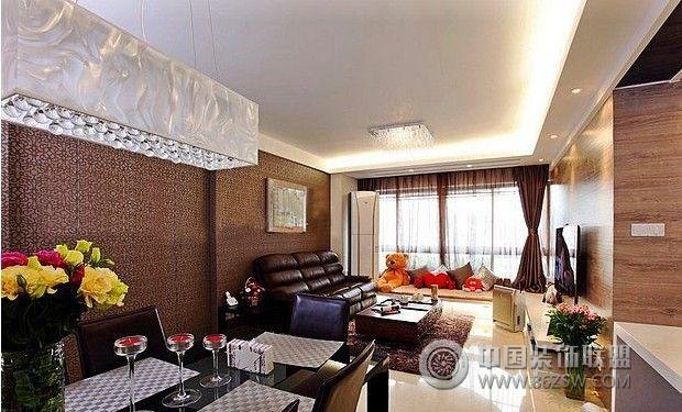 120平簡歐時尚雅居案例-客廳裝修效果圖-八六(中國)