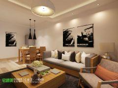 荷塘月色84平日式小清新风格两居室装修案例混搭风格小户型