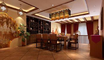 150平三居東南亞風裝修圖片東南亞風格餐廳裝修圖片