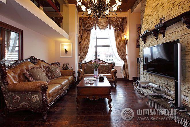 235平新中式美式混搭挑高复式别墅-客厅装修效果图-八图片