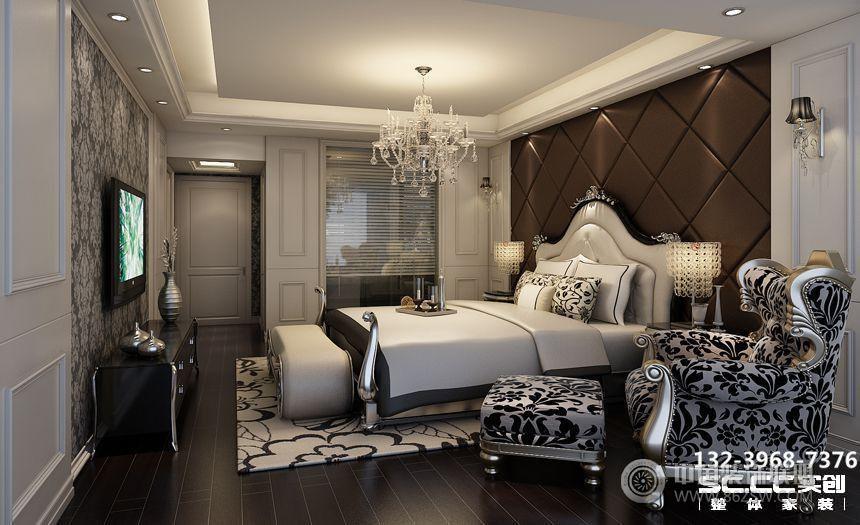 兰州金色堤岸162㎡欧式深色系-卧室装修效果图-八六