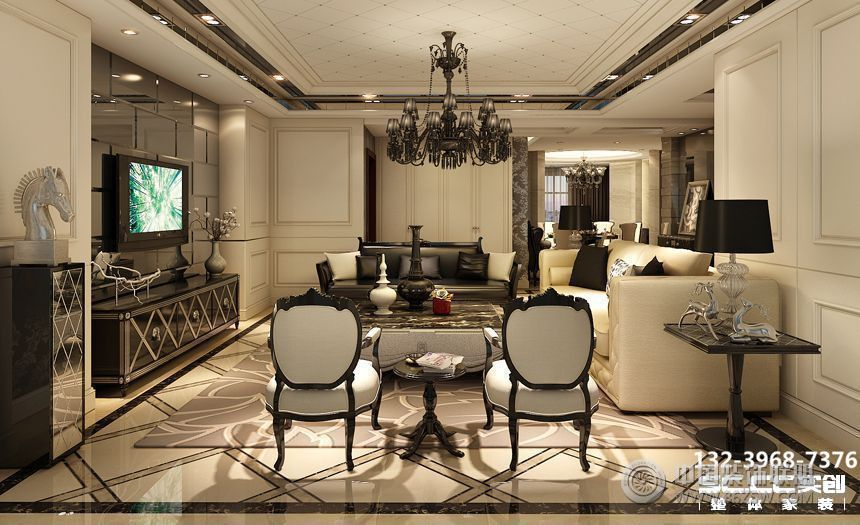 兰州金色堤岸162㎡欧式深色系-客厅装修图片
