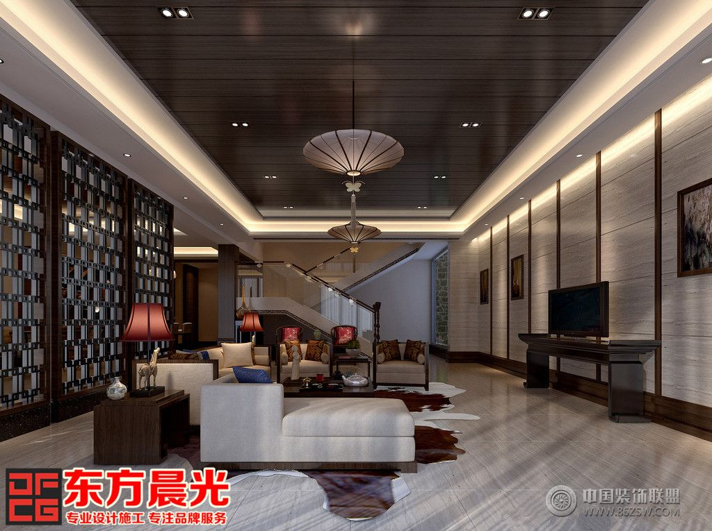 三层别墅中式装修设计-客厅装修图片