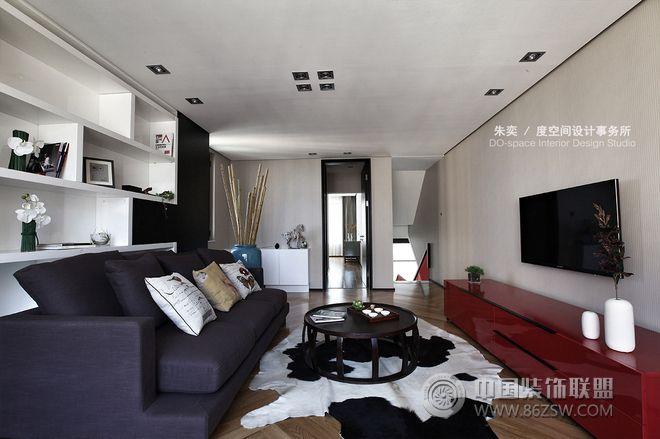 现代简约风格别墅实景图-客厅装修效果图-八六(中国)