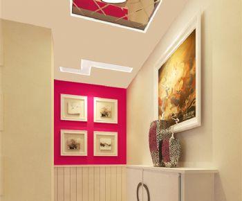 旧房翻新亮色二居室设计图现代风格玄关装修图片