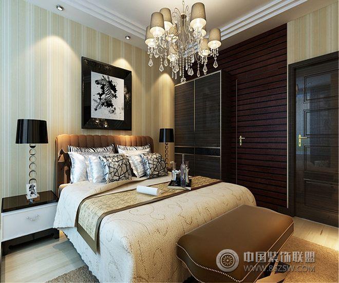 140平米黑白色三居设计图-卧室装修效果图-八六