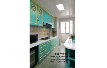 120平米煙波藍三居效果圖混搭風格廚房裝修圖片