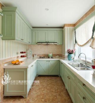 法式風格馬卡龍別墅設計案例簡約風格廚房裝修圖片