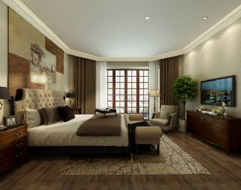 混搭风格别墅设计案例混搭风格卧室装修图片