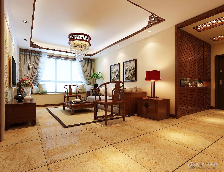 红木林 109平新中式-客厅装修效果图-八六(中国)装饰