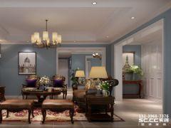 兰州实创装修装饰瑞南紫郡123㎡简美美式风格客厅装修图片