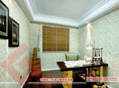 【烟台广来装饰】西海岸三室两厅新中式风格效果图中式风格书房装修图片