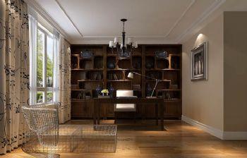 168平米新中式四居效果图中式风格书房装修图片