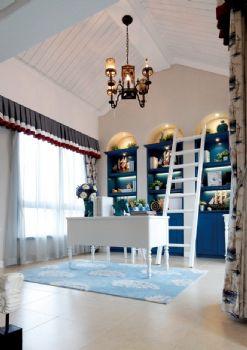 唯美地中海别墅设计案例地中海风格书房装修图片