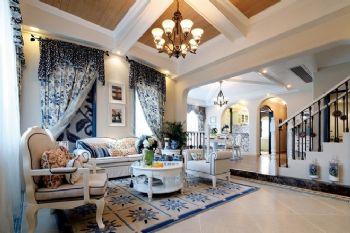 唯美地中海别墅设计案例地中海风格客厅装修图片