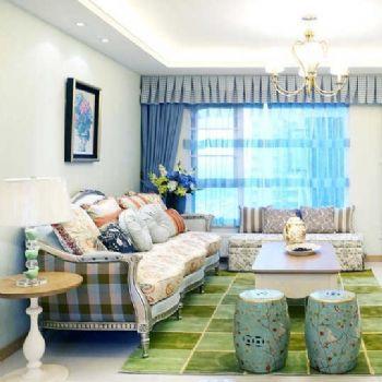 法式鄉村三居室效果圖歐式風格客廳裝修圖片