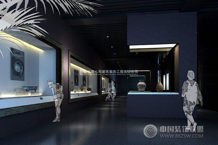 浴火千年展厅设计案例——以沉稳厚重的黑,灰色调为主,同时配以中国风