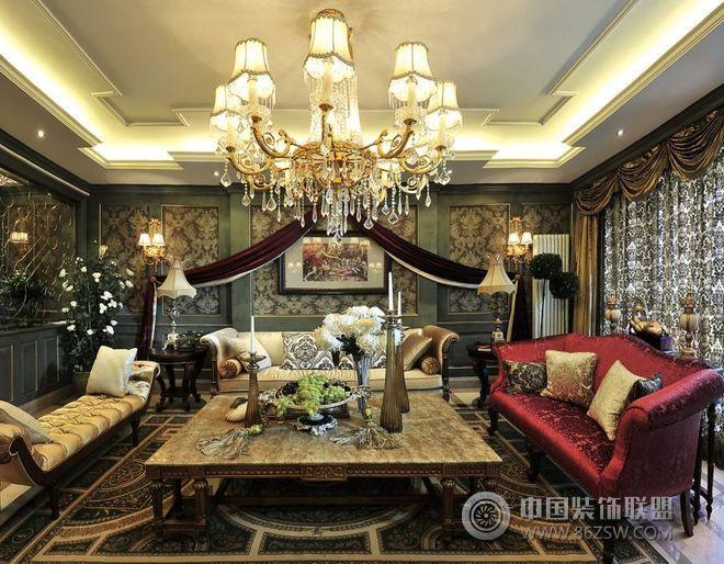 奢华美式风格别墅效果图-客厅装修效果图-八六(中国)