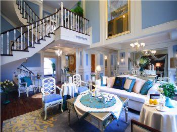 蓝色新古典风别墅设计图