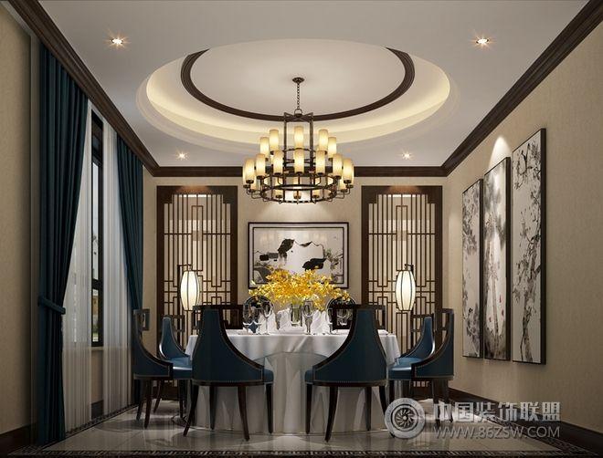 新中式联排别墅设计图-餐厅装修图片