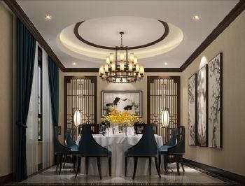 新中式餐厅吊顶设计案例图片
