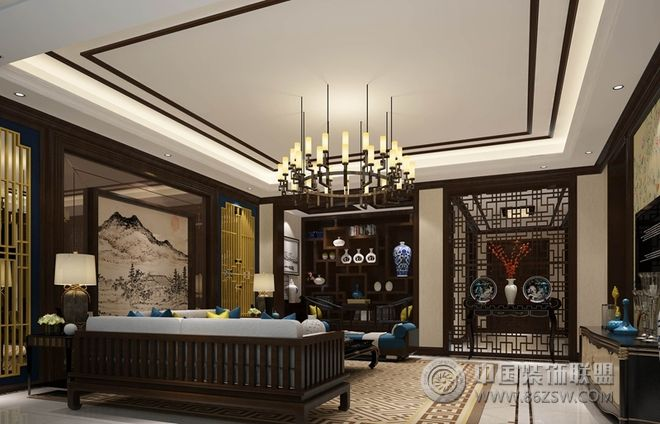 新中式联排别墅设计图-客厅装修图片