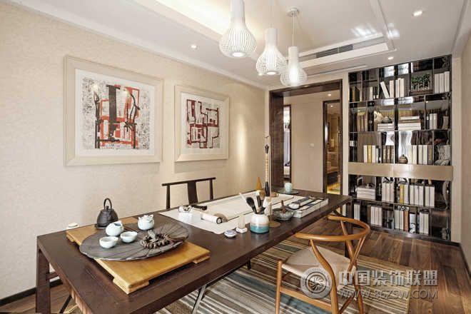 新中式样板房实景-书房装修图片