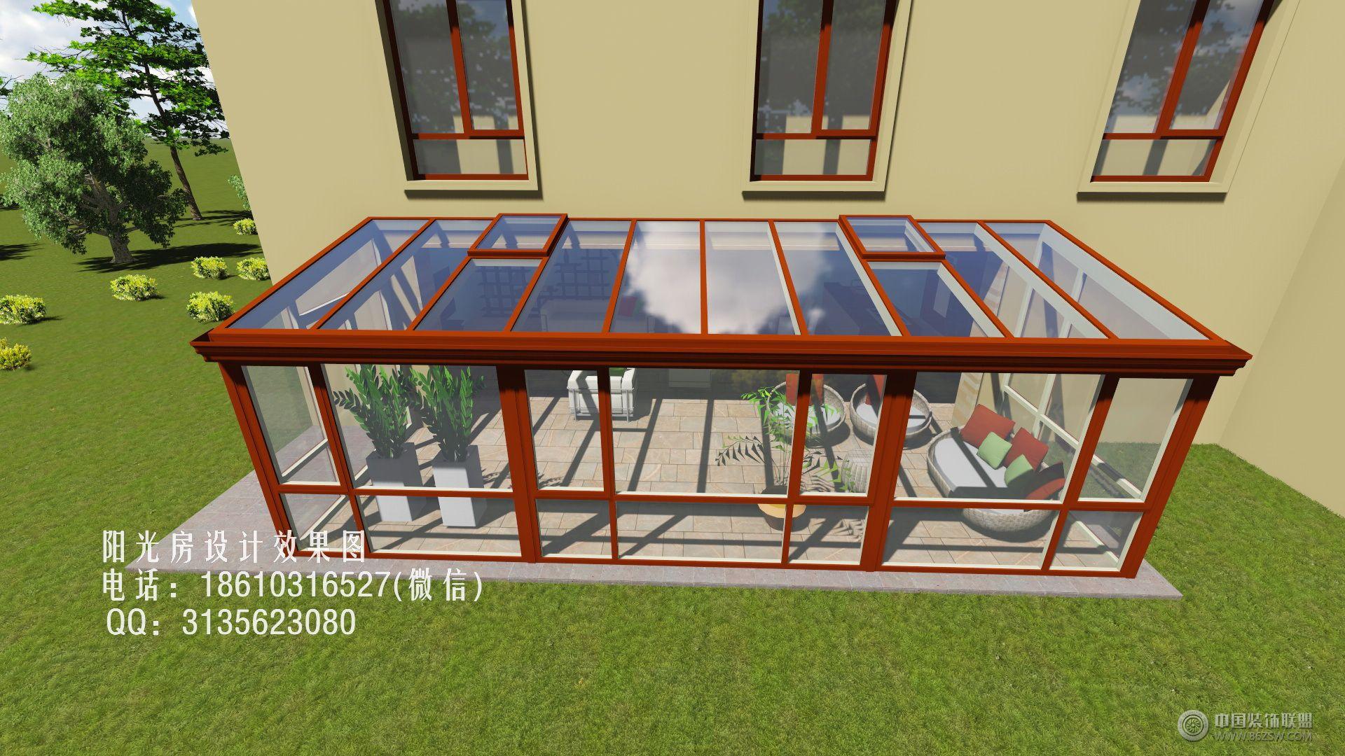 庭院单坡阳光房设计效果图-客厅装修图片