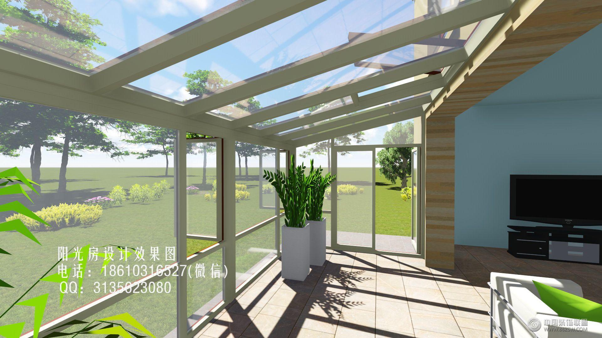 庭院单坡阳光房设计效果图-花园阳光房的设计作品