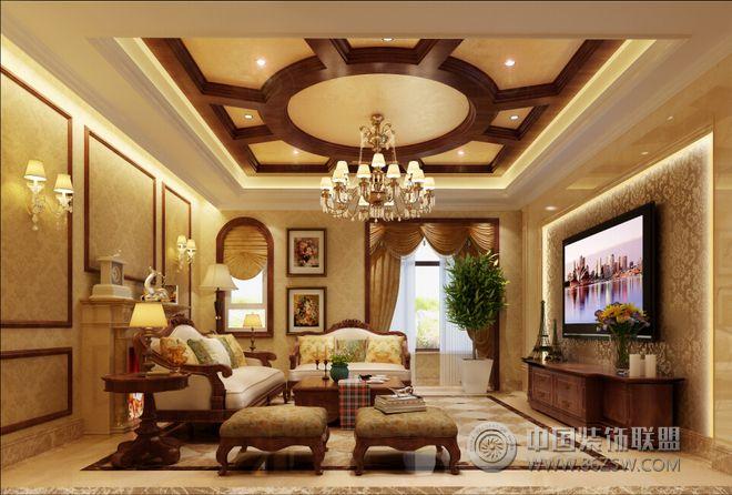 美式鄉村混搭別墅設計-客廳裝修效果圖-八六(中國)