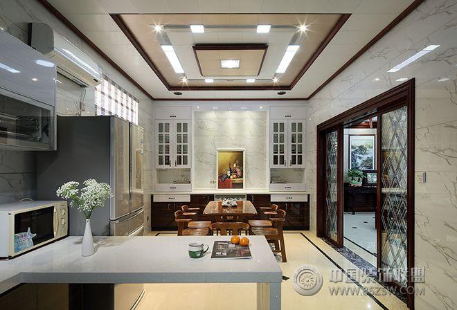 现代中式风格别墅装修效果图-厨房装修效果图-八六()