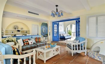 保利海上五月花137平方三室两厅地中海风格效果图案例地中海风格三居室